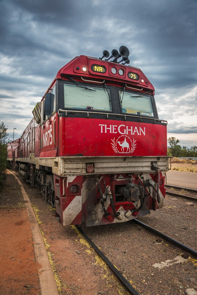 Iconic Australian luxury passenger train 3 trailer at railway station in Alice Springs, Australia