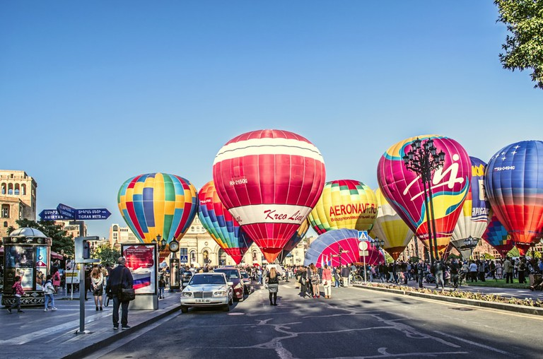 In honor 2799 anniversary of the founding of the city of Erebuni-Yerevan festive ballooning over the capital of Armenia