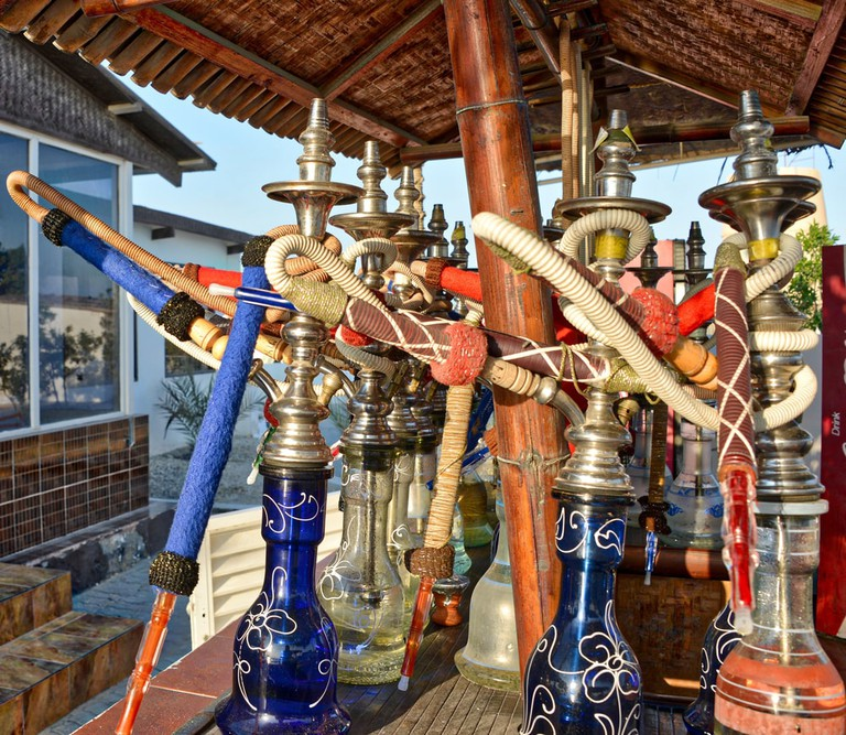 Shisha pipes at a roadside café in Bahrain
