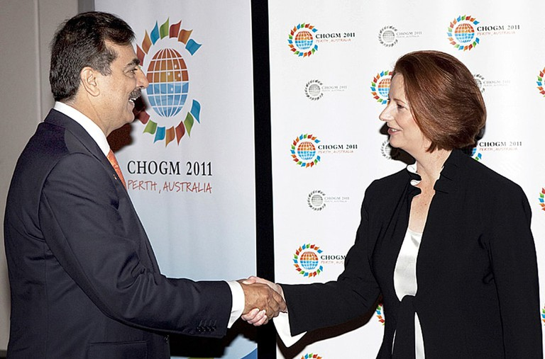 Pakistan Prime Minister, Syed Yousuf Raza Gilani is received by his Australian counterpart, Julia Gillard