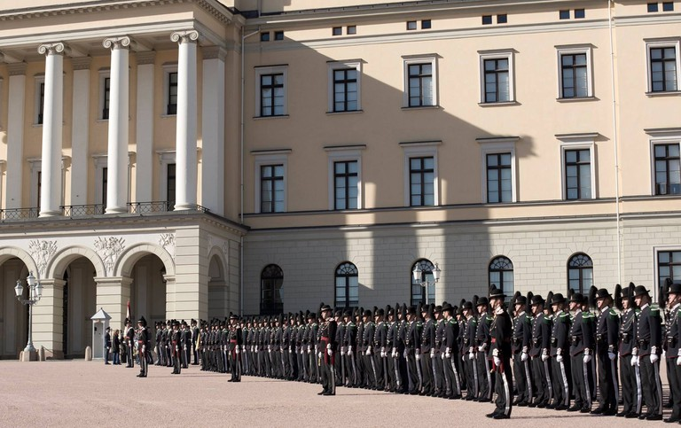 The Royal Guard stationed outside the Royal Palace