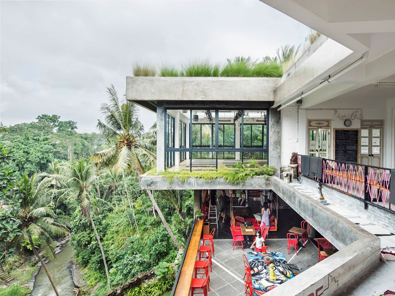 The modern architecture of the Ubud Yoga Centre, in Bali.