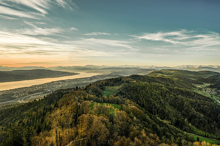 Panorama from Uetliberg to the Lake Zurich and the Alps.