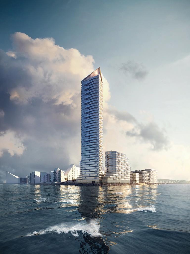 Solid panel Denmark's tallest building Aarhus