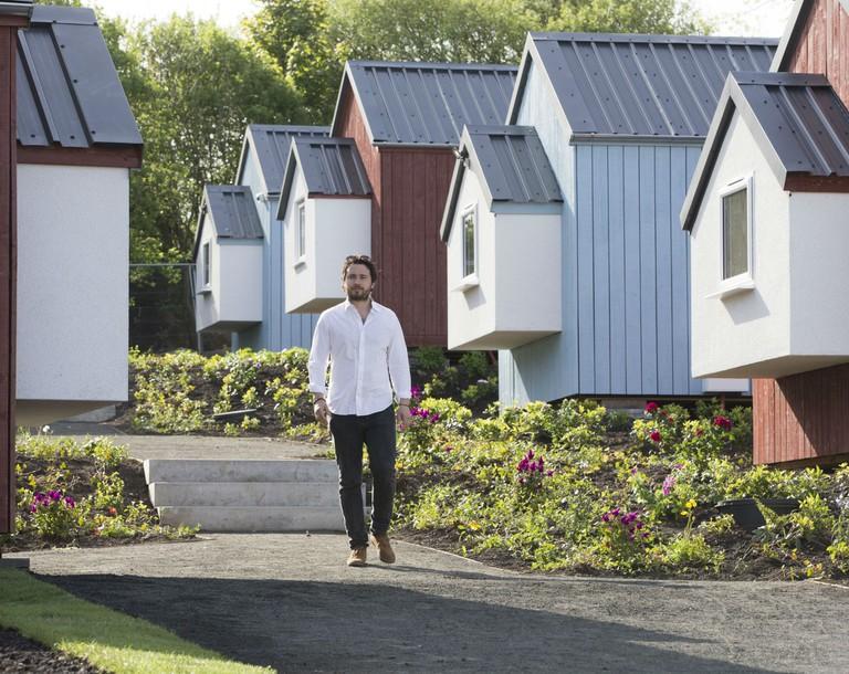Social Bite Village For Homeless People In Edinburgh And Social Bite Co-founder Josh Littlejohn