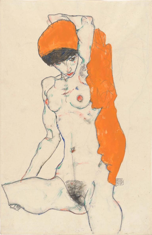 Egon Schiele, 'Standing Nude with Orange Drapery' (1914)