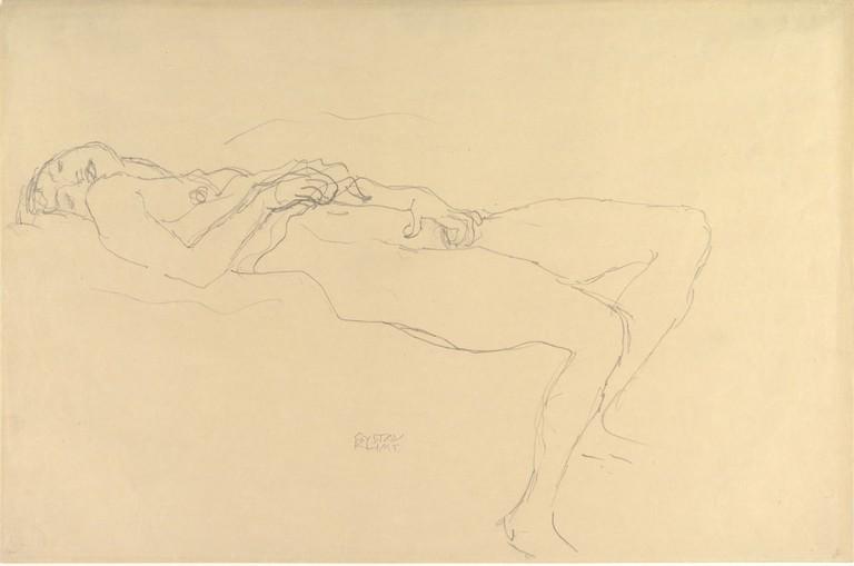 Gustav Klimt, 'Reclining Nude' (ca. 1913)