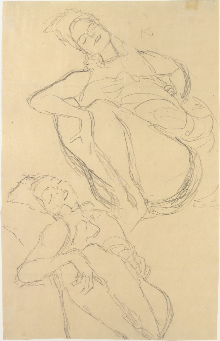 Gustav Klimt, 'Two Studies for a Crouching Woman' (1914–15)