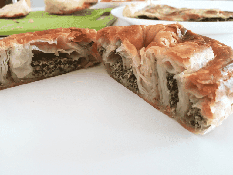 Byrek is the traditional Balkan pie made with filo dough