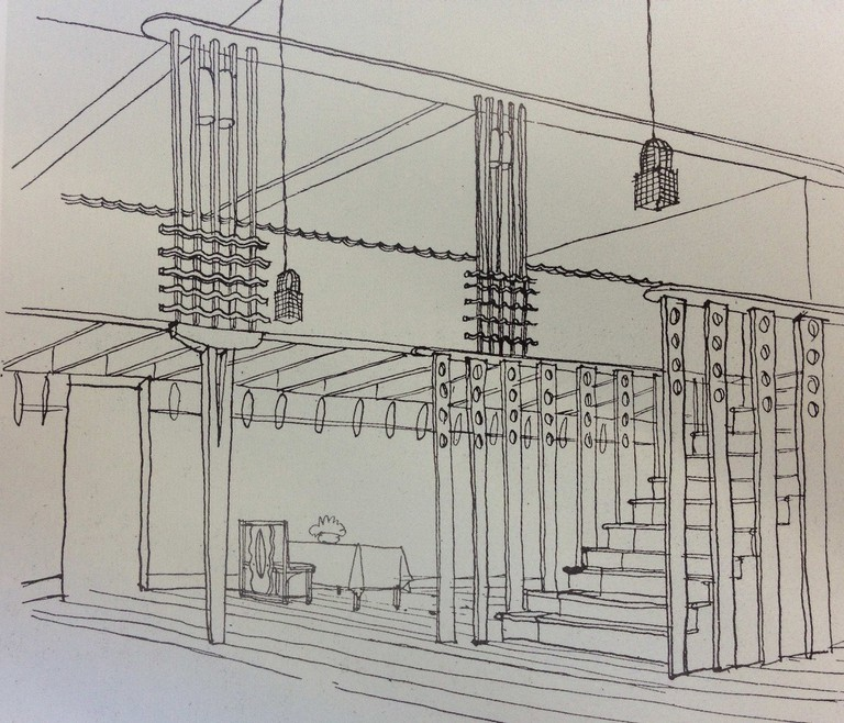 Sketch Of The Oak Room By Charles Rennie Mackintosh | Scottish Design Galleries, V&A Dundee