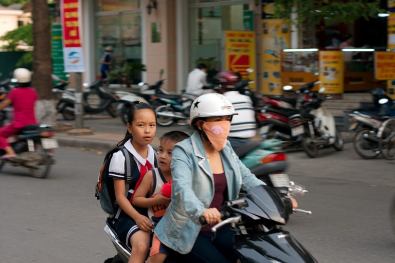 A family on a motorbike in Vietnam