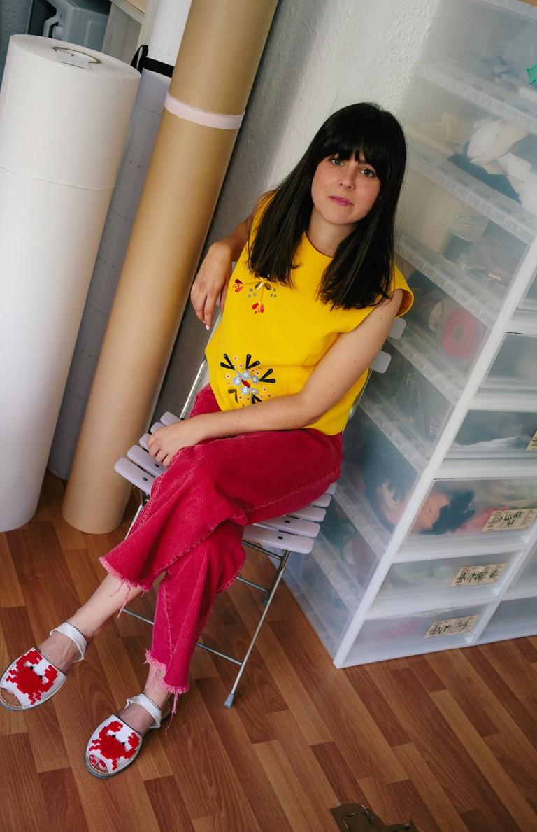 Fashion designer Berta Cabestany wears her namesake label at her workshop in Barcelona, 2018