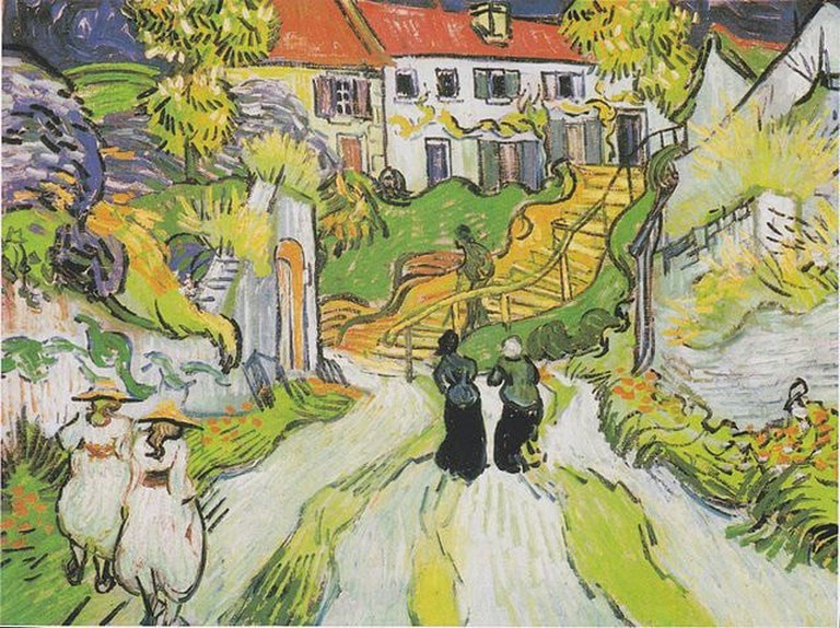 'Village Street and Steps in Auvers with Two Figures' by Vincent Van Gogh