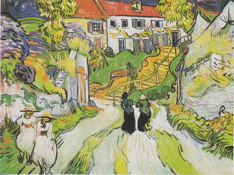 Village Street and Steps in Auvers with Two Figures by Van Gogh