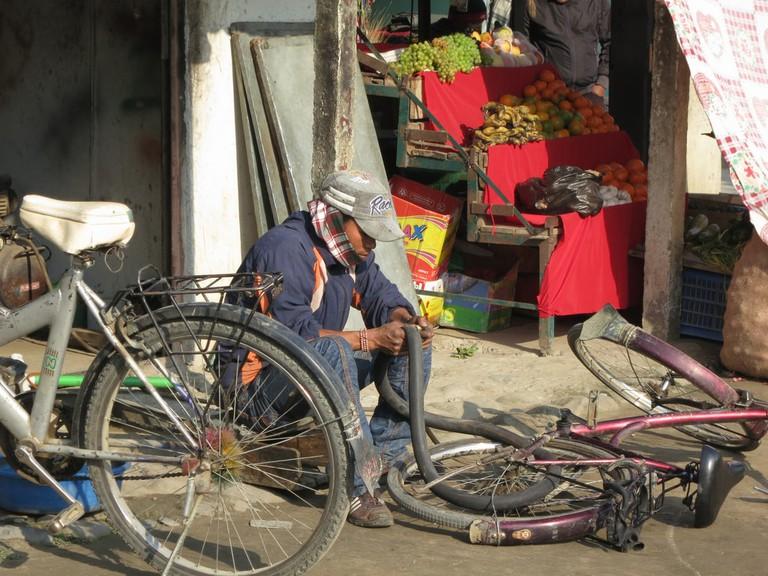 Bike repair on the street