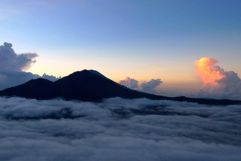 Sun rising on Mount Agung in Bali