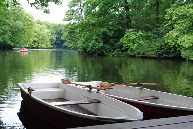 The row-boats and lake in Tiergarten Berlin