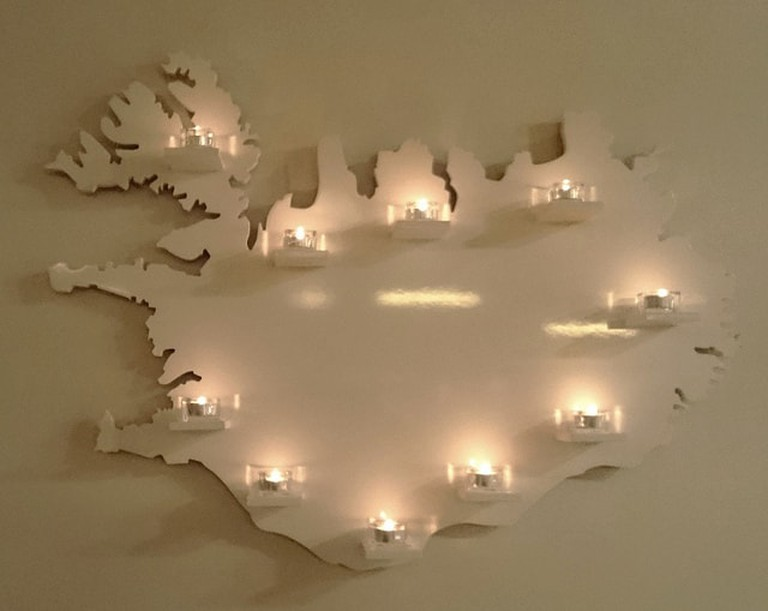 Candle map of Iceland