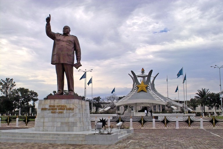 Statue and mausoleum of Laurent Kabila, assassinated president of Democratic Republic of Congo