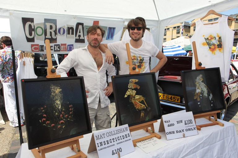Mat Collishaw (left) at the Art Car Boot Fair in 2012