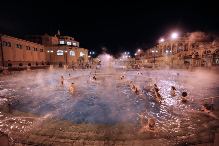 The Szechenyi Baths on a cold winter night in Budapest, Hungary