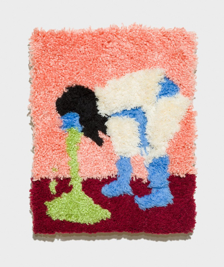 Campbell_CarpetPuking_2017AcrylicRugAndOilOn panel11x14_PhotoEvanJenkins