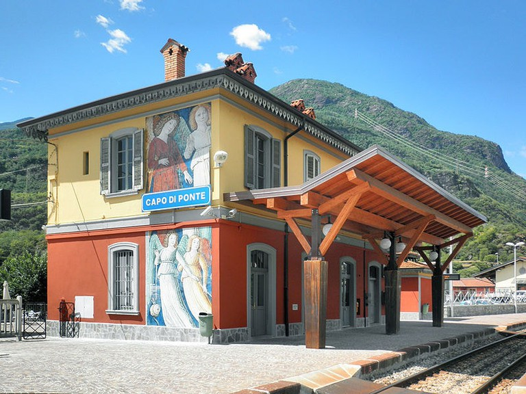 Mountain village Capo di Ponte's cute and colourful train station