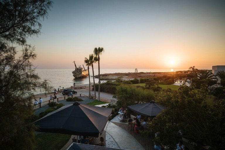 The bar is an ideal spot for cocktails, sunsets and seeing the EDRO III shipwreck