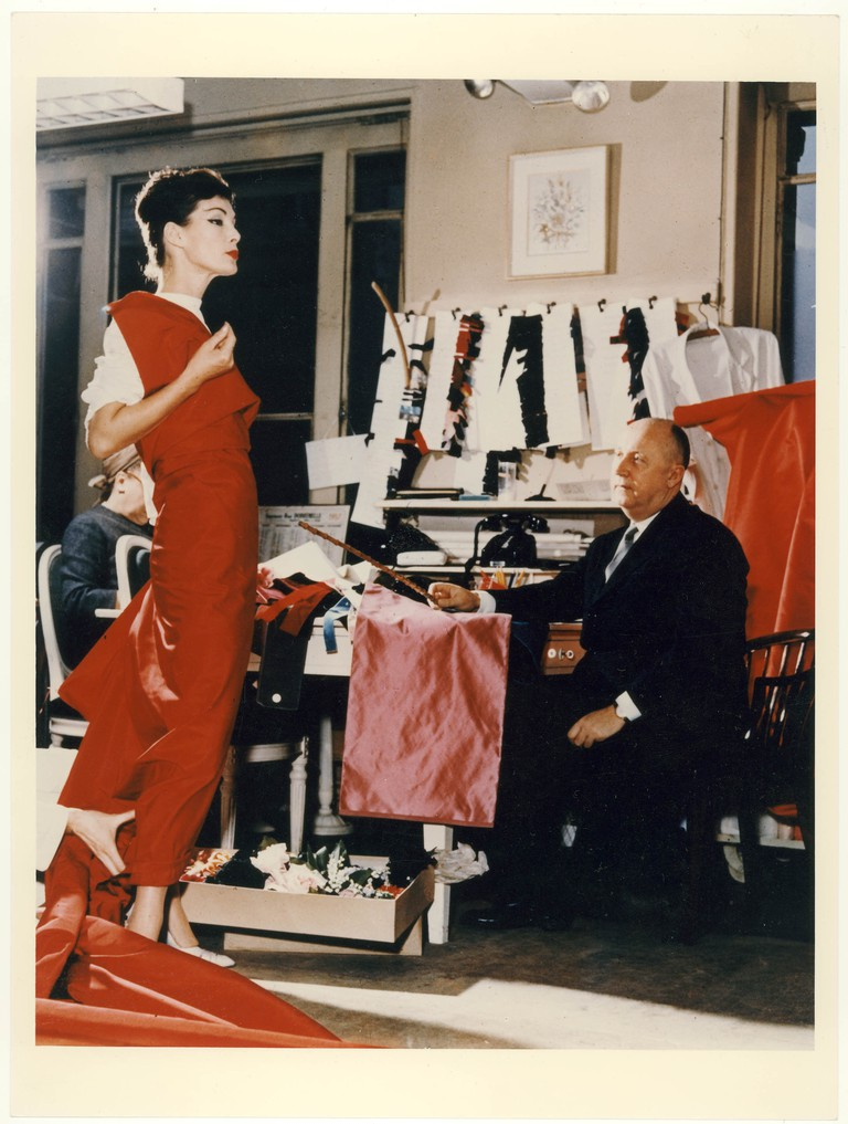 Christian Dior with model Lucky, c. 1955