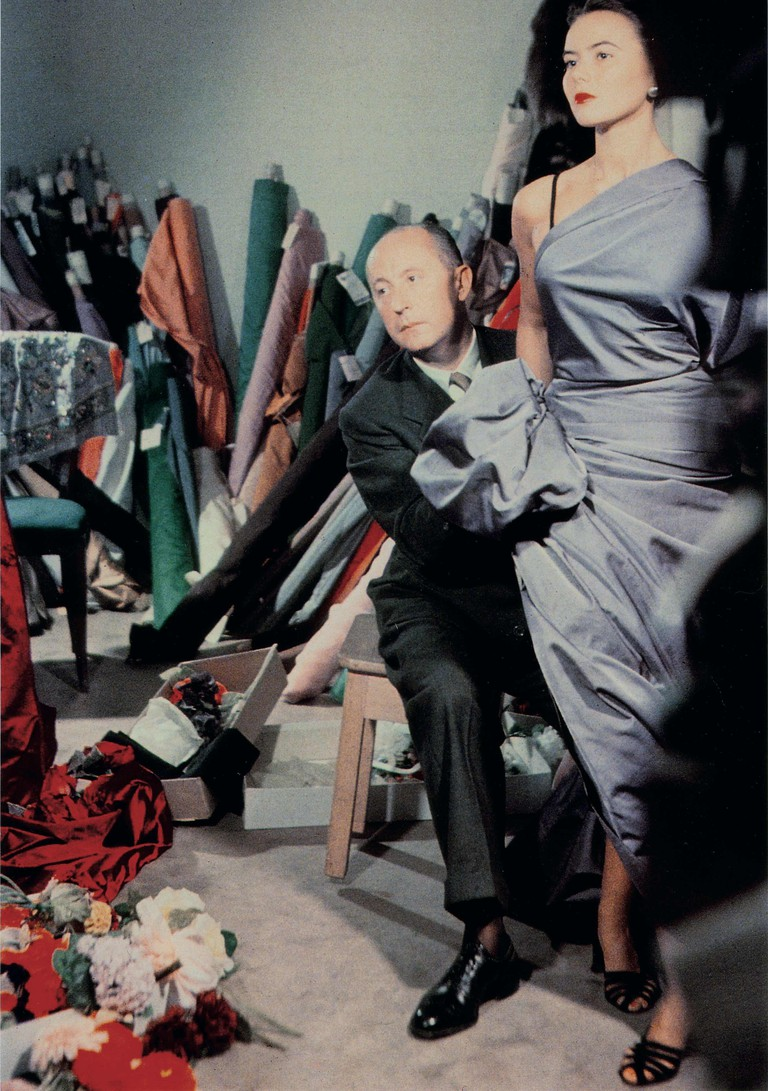 Christian Dior with model Sylvie, c. 1948
