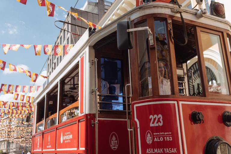 The Famous Red Tram of the Istiklal Caddesi, Istanbul