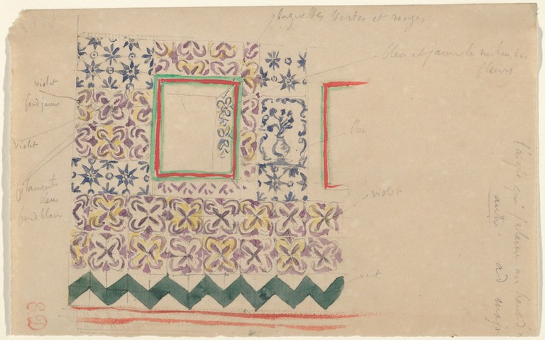 Eugène Delacroix, 'A Wall Decorated in Spanish Tiles' (1832)