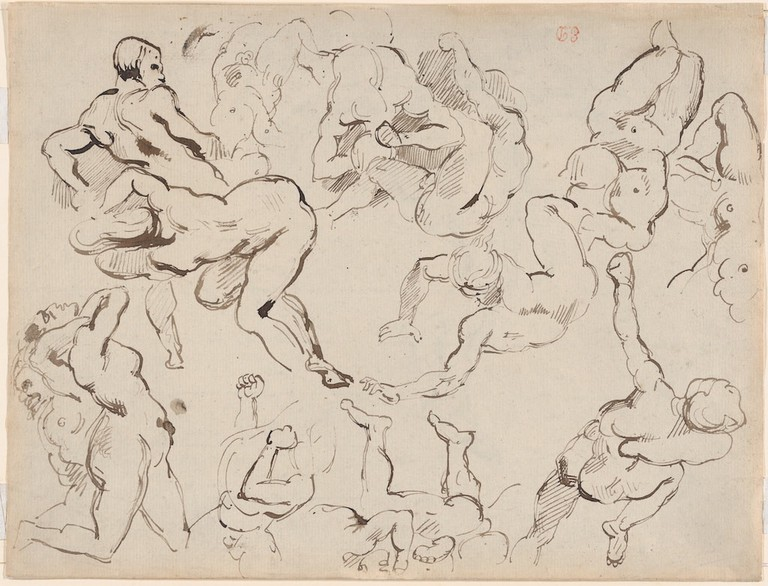 "Eugène Delacroix, 'Figure Studies after Rubens's ""Fall of the Damned"" ' (verso), (ca. 1820–22)"