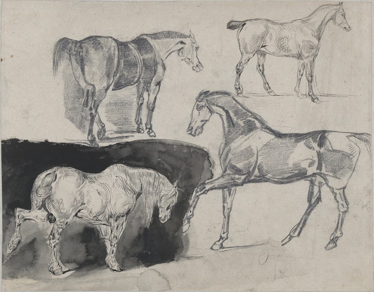 Eugène Delacroix, 'Four Studies of Horses' (recto), (1824–1825)