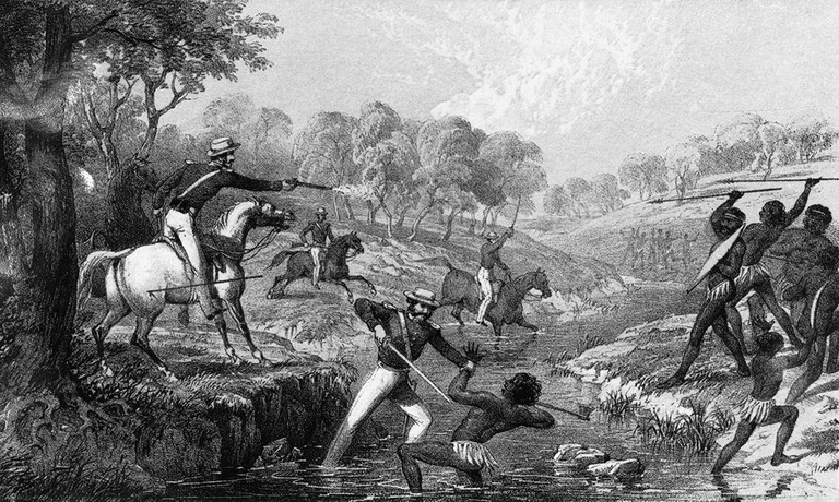 Depiction of the massacre of Aboriginal people at Waterloo Creek by British troops on 26 January 1838 © W Walton / Wikimedia Commons