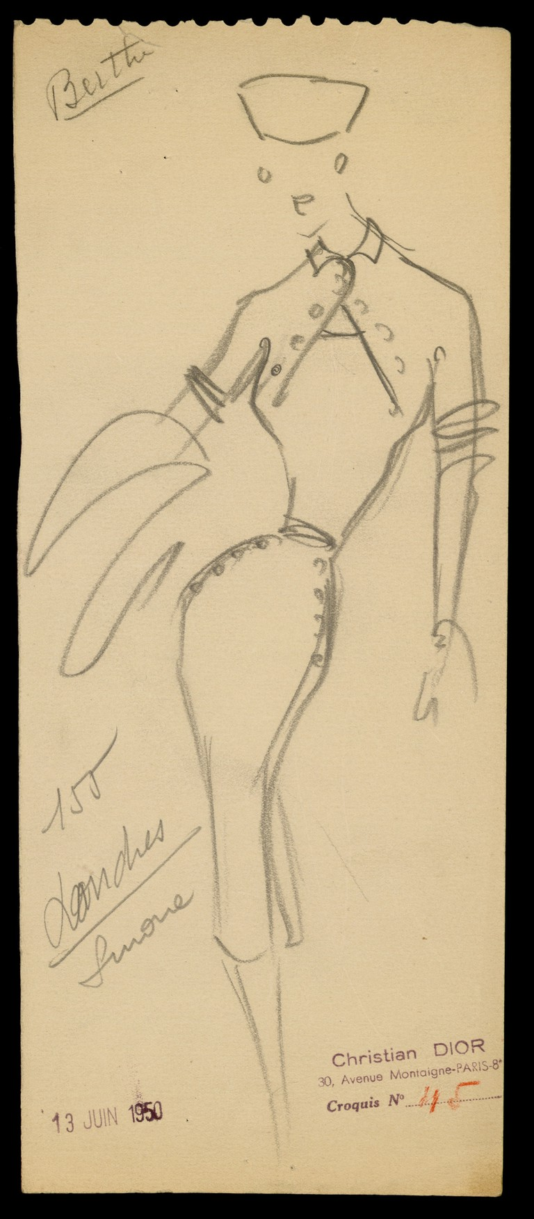 Sketch by Christian Dior for model Londres, autumn/winter 1950 Haute Couture collection