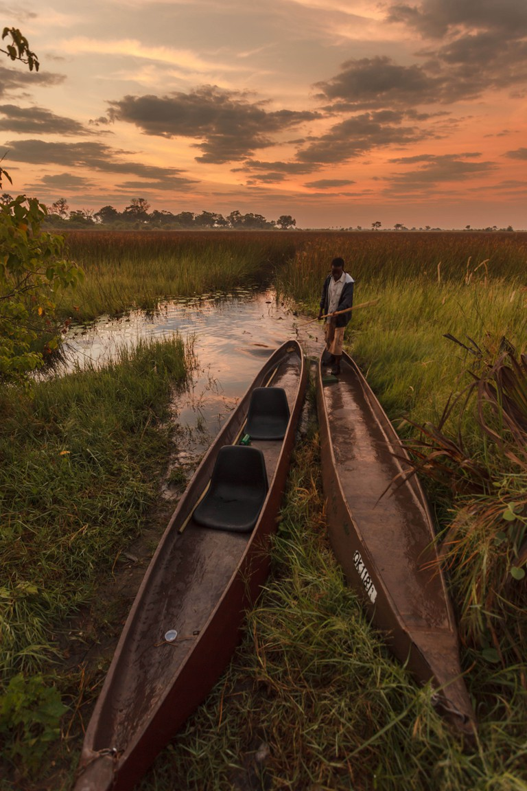 A guide prepares canoes for tourists at Sunrise in the Okavanga Delta wetland