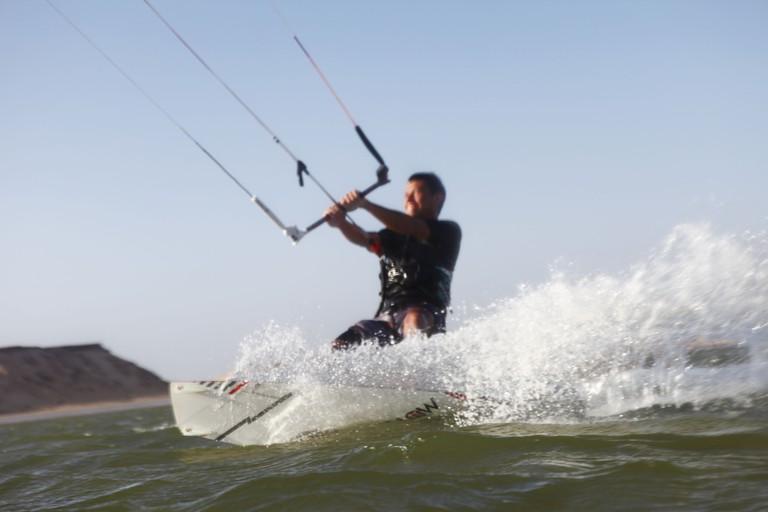 Kitesurfing on the lagoon in Dakhla, Western Sahara, Morocco