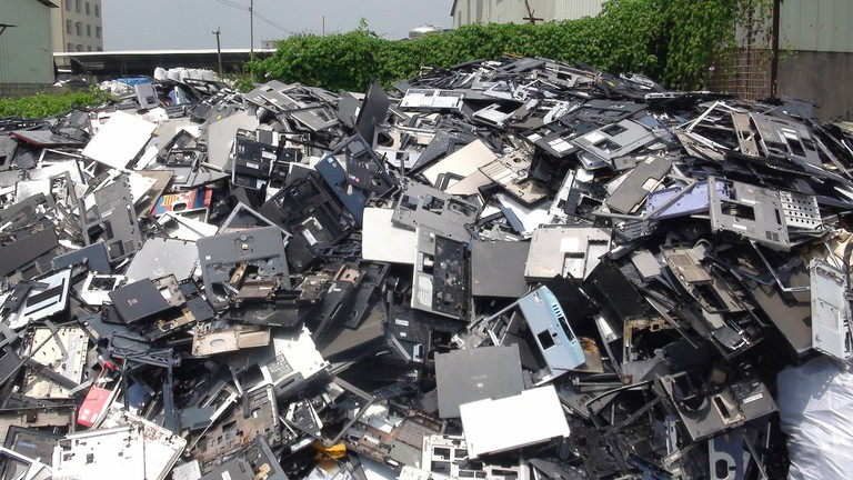 Reports have emerged of mounds of electronic waste in Thailand, like this pile of laptop casings in China
