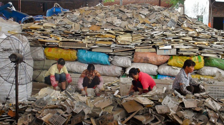 The spike is believed to have been caused by China's ban on electronic waste processing at plants like these.