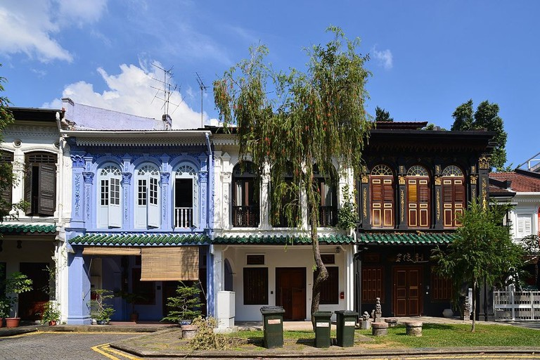 Terraced shop houses line the street at Emerald Hill