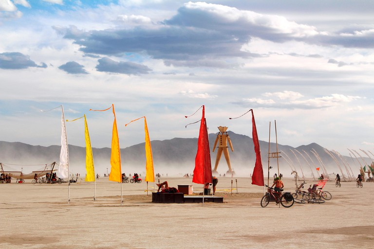 View of the playa during the annual Burning Man festival in the desert in Black Rock City, Nevada
