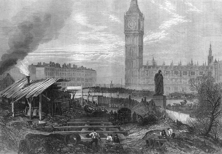 Underground railway construction work at Westminster, Central London, 1867