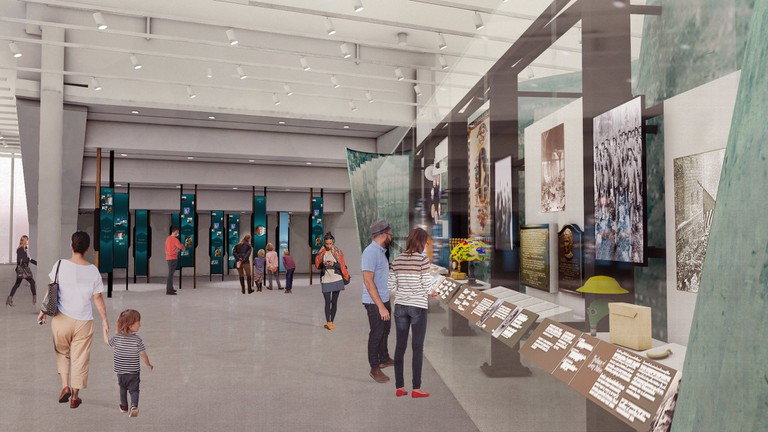 Renderingsof Statue of Liberty Museum interiors, designed by ESI Design