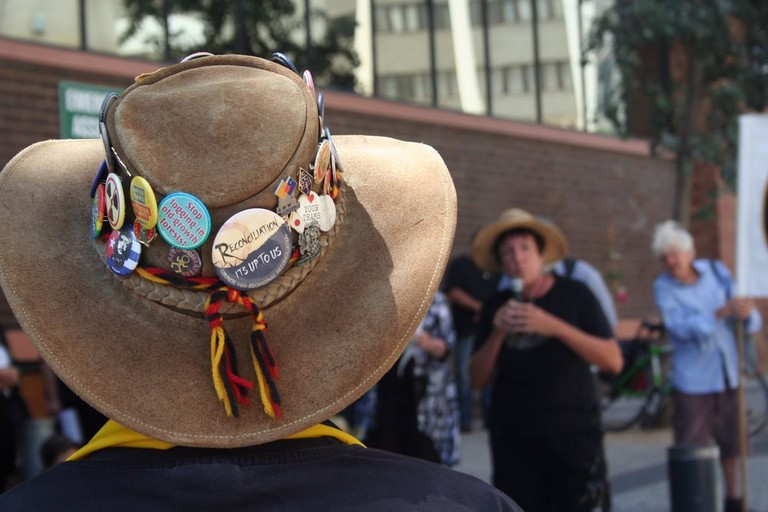Indigenous advocate at a demonstration © Takver / Flickr