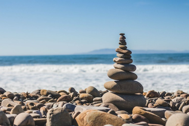 Stone Stacking By The Sea, Ventura, United States