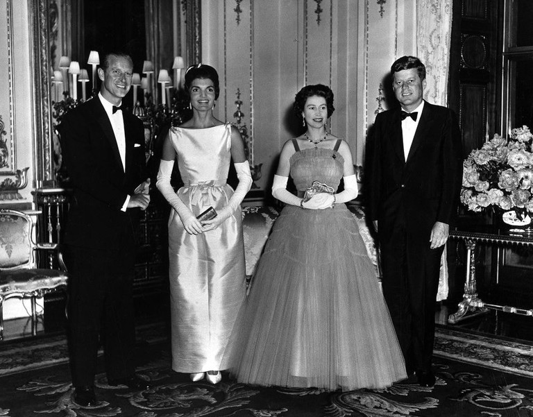 Queen Elizabeth and Prince Philip host Queen's Dinner for President and Mrs. Kennedy, June 1961