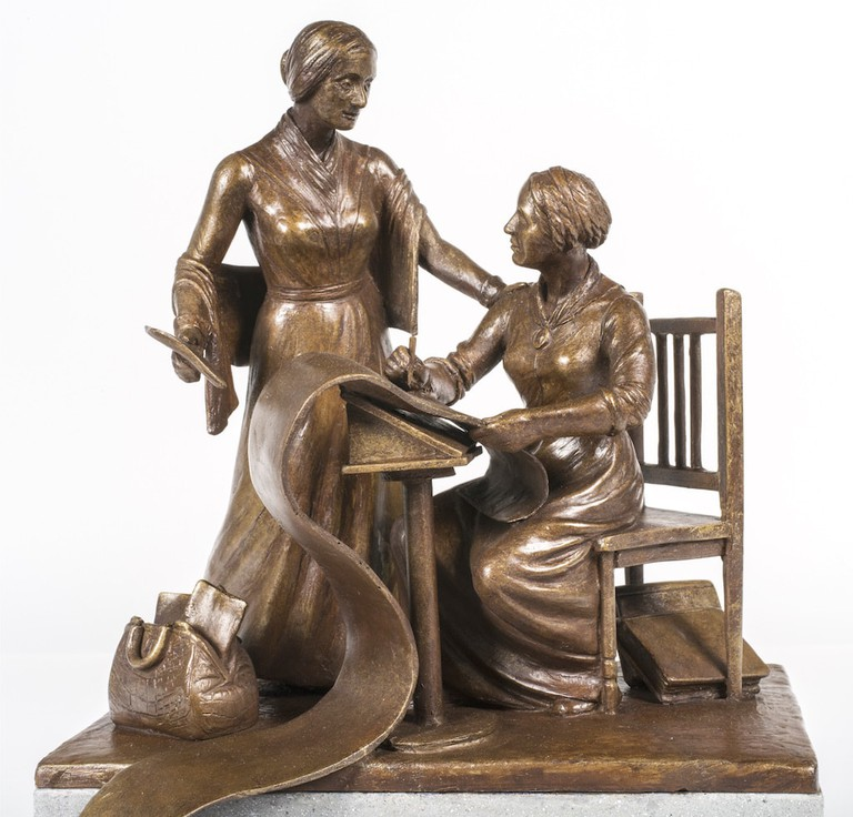 A maquette of Meredith Bergmann's statue of Elizabeth Cady Stanton and Susan B Anthony