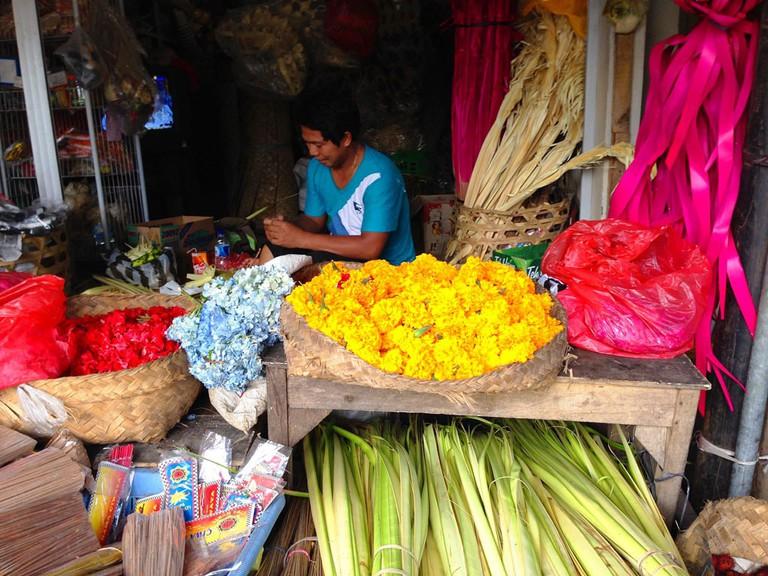 Flower stall in a market in Bali