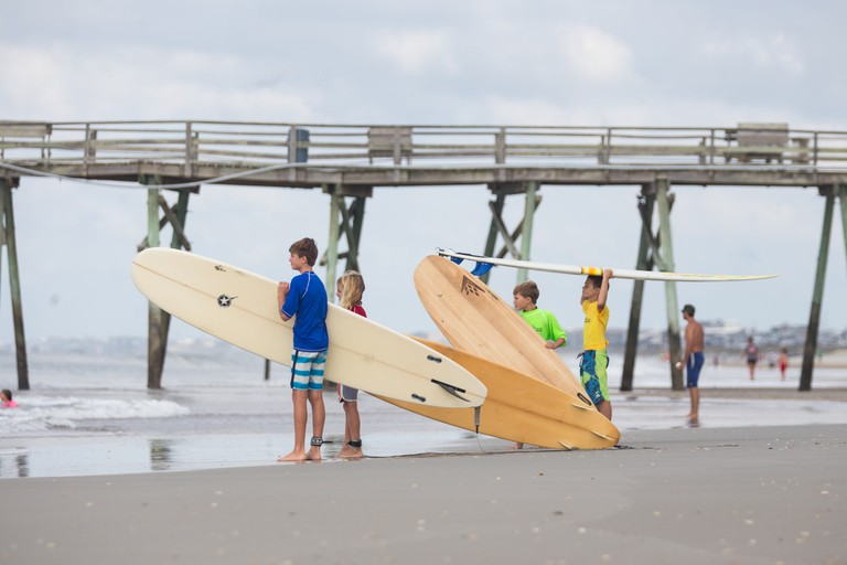 The area's surf scene is ideal for beginners and young surfers
